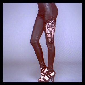 Leather Leggings lace detail (NWT)